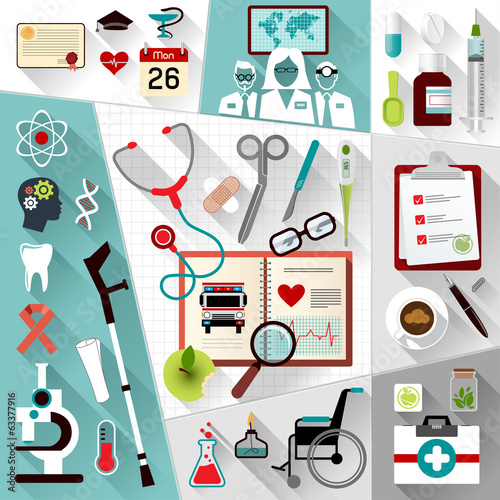 Set of medical flat design concept web icons
