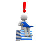 3d man sitting on the book and reading a book with exclamation m