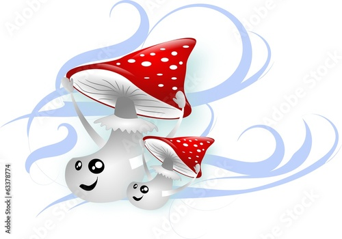 Two toadstools in wind