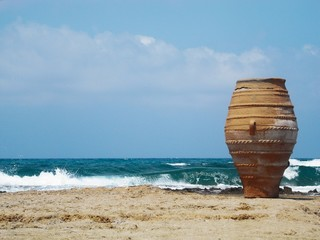 amphora on the beach