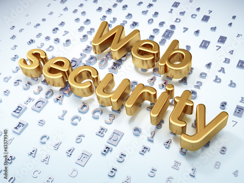 Protection concept: Golden Web Security on digital background