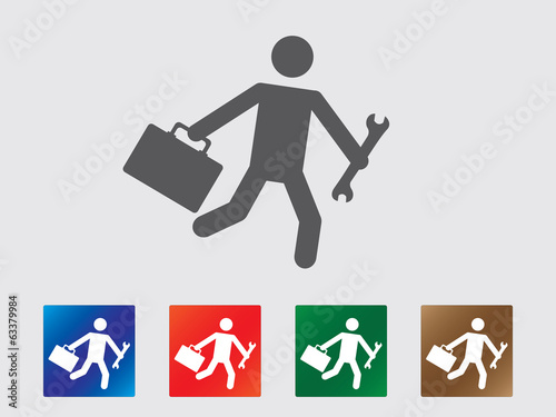 People late for work icon collection