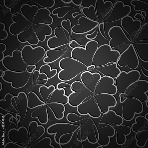 Black  floral wallpaper pattern. Vector illustration.
