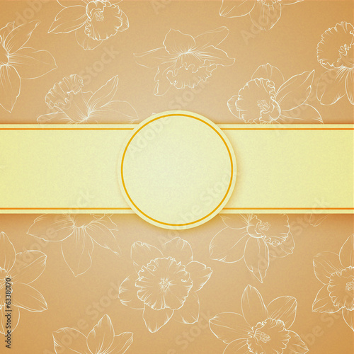 Text design with pattern of flowers narcissus.