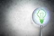 Finance concept: Light Bulb with optical glass on digital