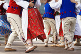 Fototapety Horizontal colour image of female polish dancers in traditional