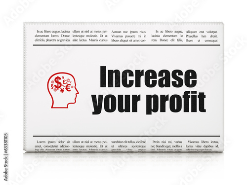 Business concept: newspaper with Increase Your profit and Head