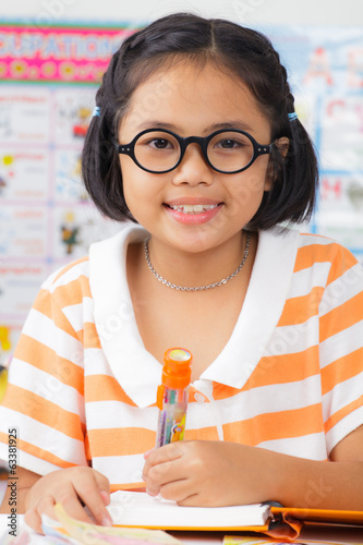Little student girl