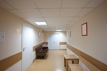 corridor with white doors
