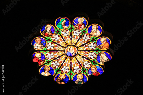 Stained-glass window in ancient Italy church