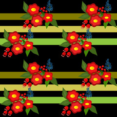 Cute flowers seamless pattern on black striped background