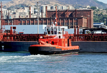 tug ship in the port