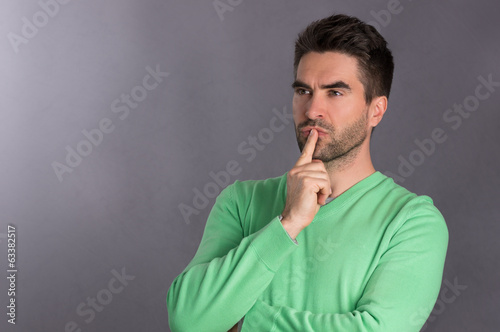 Thinking bearded Man, isolated