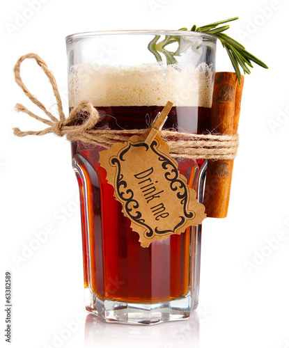 Alcohol cocktail (beer-based) with spices isolated