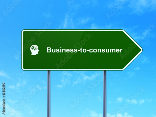 Business concept: Business-to-consumer and Head With Finance