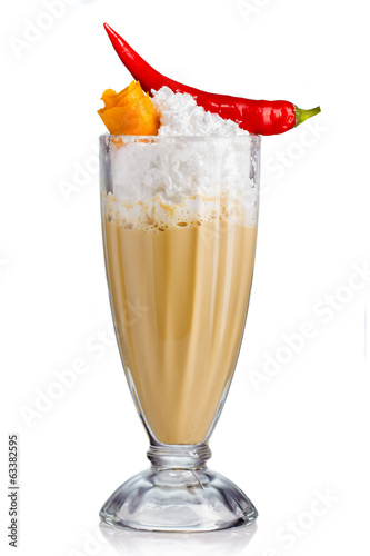 Frappe with cream and spices (chilli, rind) isolated on white