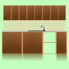 Brown Kitchen With Sink