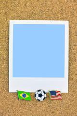 ポラロイド サッカー 国旗のピン ブラジル アメリカ