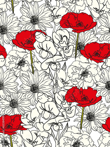 Floral Pattern With Red Poppies On Monochrome Background