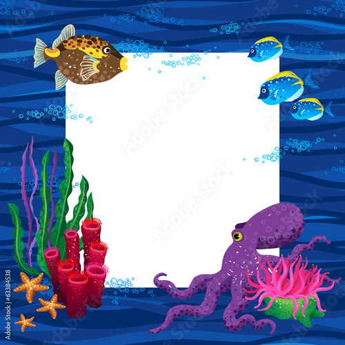 Bright vector pattern with tropical fishes. Marine life.