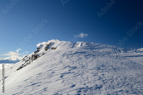 Snow cornice on the ridge