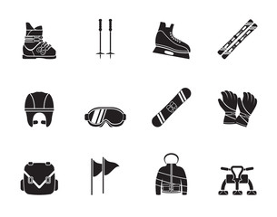 Silhouette ski and snowboard equipment icons - vector icon set