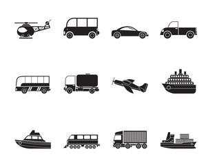 Silhouette Travel and transportation icons - vector icon set