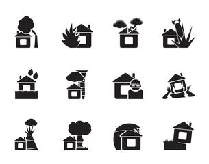 Silhouette home and house insurance and risk icons