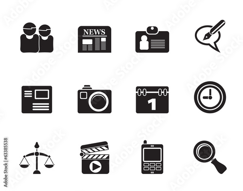 Silhouette web site, computer and business icons