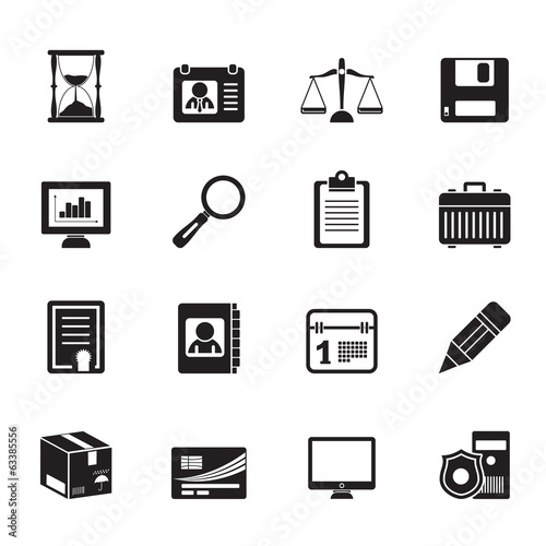 Silhouette Business and office Icons -vector icon set
