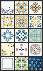 Collection of 15 ceramic tiles, orange-blue style