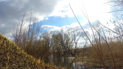 Timelapse of  Blue Sky and River Flow. Sunny Day.
