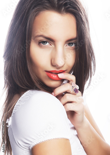 young girl with orange lips