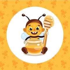 Bee with honey jar