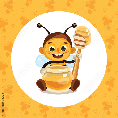 Bee with honey jar