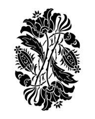 Black and white flower silhouette. Vector illustration