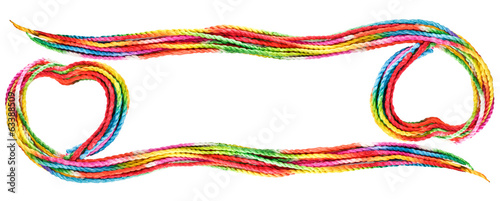 colorful love rope frame on white background