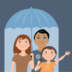 Cartoon family under an umbrella representing insurance coverage