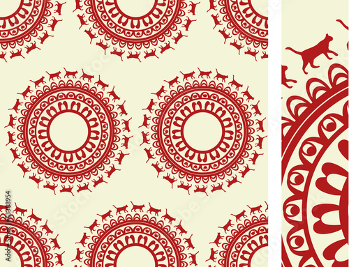 Seamless cat luxury pattern