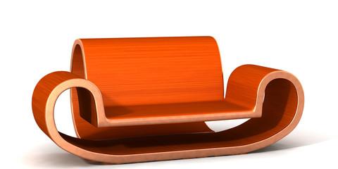 Geschwungene Couch aus Holz
