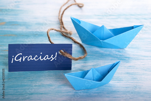 Label with Gracias and Boats