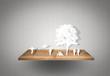 Paper cut of children play on wood shelf