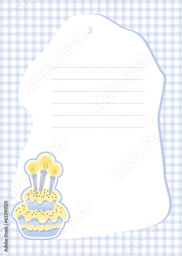 Birthday cake invitation card in blue