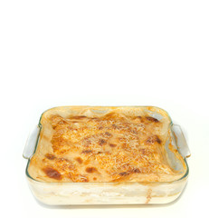Isolated gratin on white background