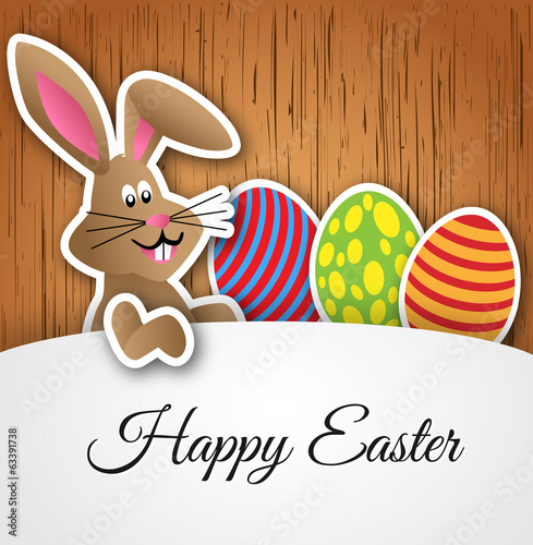 Vector Happy Easter card with rabbit and eggs