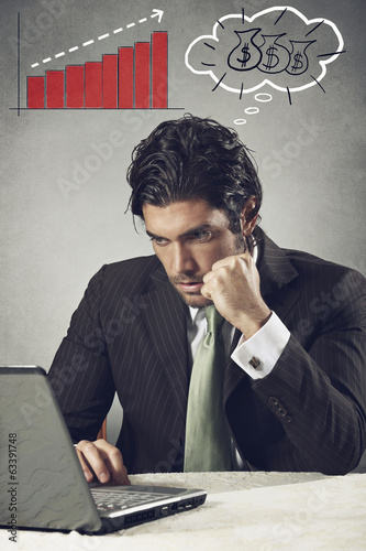 Successful businessman thinks about money