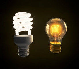 Modern fluorescent and vintage incandescent light bulb side by