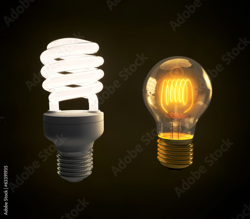 Modern fluorescent and vintage incandescent light bulb side by