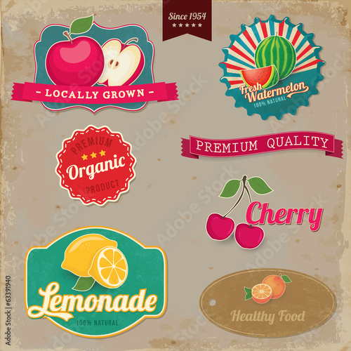 Vintage fruit labels. Vintage tags illustration collection.