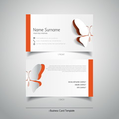 Modern simple light business card template with papercut butterf